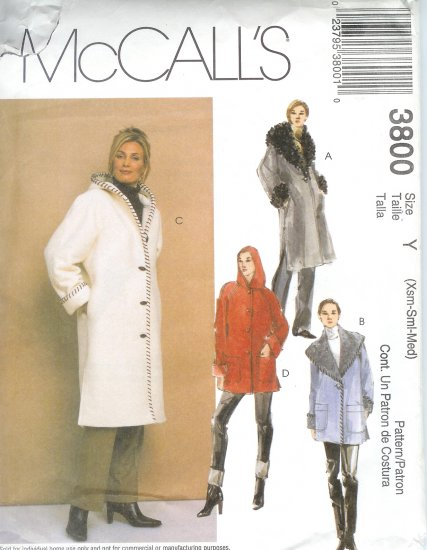 M3800 McCalls Pattern Lined Coats in 2 Lengths Misses Size Y  XS - S - M