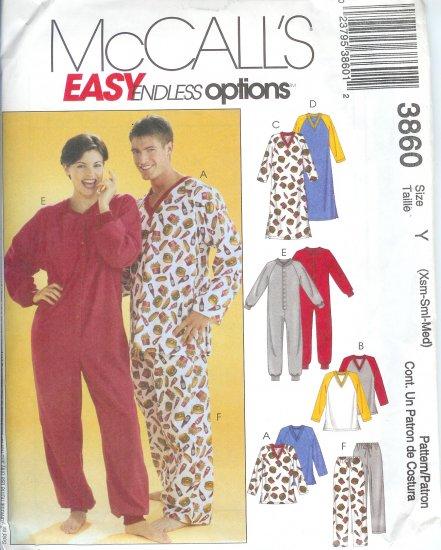 M3860 McCalls Pattern ENDLESS OPTIONS Tops,Nightshirts,Jumpsuit,Pants Miss/Mens/Teen Boys Size  XS-M