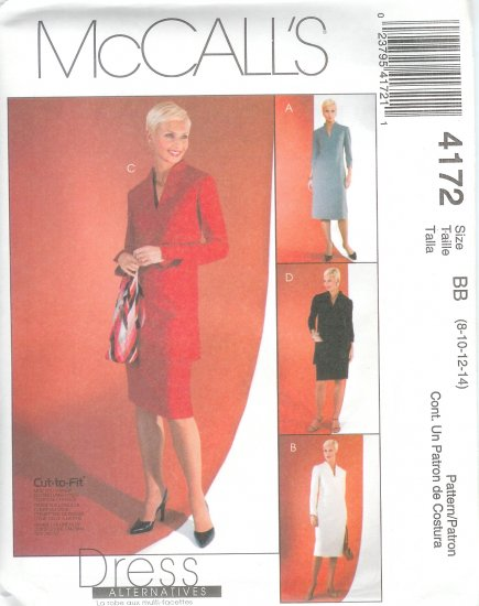 M4172 McCalls Pattern CUT - TO - FIT Dress, Tunics, Skirt Misses/Miss Petite Size BB 8-10-12-14