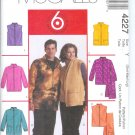 M4227 McCalls Pattern 6 GREAT LOOKS Unlined Jackets, Vests, Scarf Misses/Men Size S-M-L