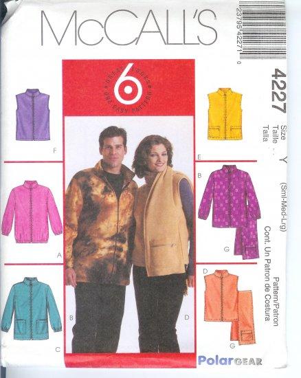 M4227 McCalls Pattern 6 GREAT LOOKS Unlined Jackets, Vests, Scarf Misses/Men Size XL - XXL
