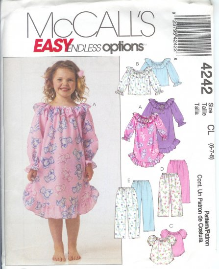 M4242 McCalls EASY ENDLESS OPTIONS Nightgown, Tops, Pants, Child/Girl Size CL 6-7-8