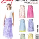 M4348 McCalls Pattern STITCH'N SAVE Wrap Skirts two lengths Misses Size A 8-10-12-14