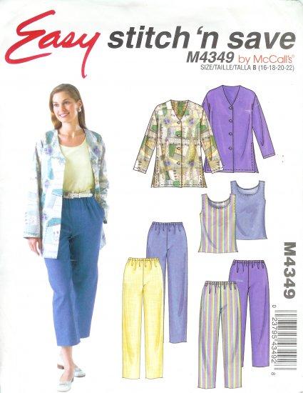 M4349 McCalls STITCH'N SAVE Unlined Jacket,Top,Pants, Capri Pants Misses/Miss Petite Size B 16-22