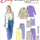 M4349 McCalls STITCH'N SAVE Unlined Jacket,Top,Pants, Capri Pants Misses/Miss Petite Size B 16-22