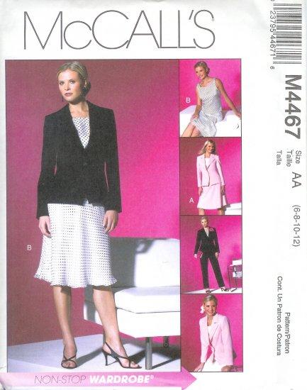 M4467 McCalls NON STOP WARDROBE Lined Jacket,Top,Bias Skirt,Pants Misses/Miss Petite Size 10-16