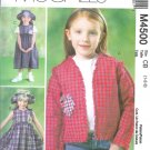 M4500 McCalls Pattern Jacket, Dress in two lengths & Hat Toddler/Child Size CB 1-2-3
