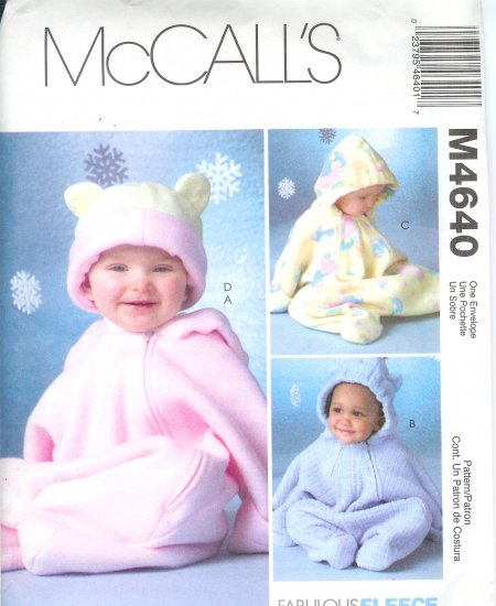 M4640 McCalls FABULOUS FLEECE Buntings and Hats Infants Size