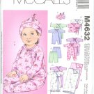 M4632 McCalls LAURA ASHLEY Tops, Sack, Pants, Hat, Blanket  Infants  Size