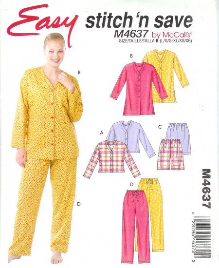 M4637 McCalls Pattern STITCH N SAVE Tops, Shorts, Pants Misses Size A  XS, S, M