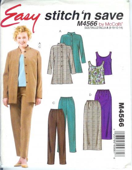 M4566 McCalls Pattern STITCH N SAVE Shirt-Jacket,Tank Top,Skirt, Pants Misses/Miss Petite Size 12-18