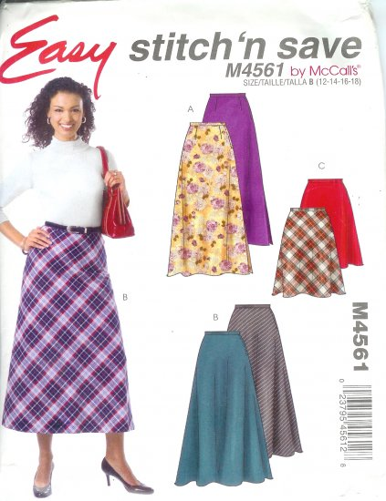 M4561 McCalls Pattern STITCH N SAVE Skirts in two lengths Misses Size A 8-10-12-14