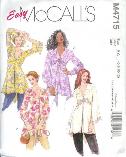 M4715 McCalls Pattern EASY Tunics Misses Size AA 6-8-10-12