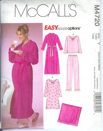 M4720 McCalls Pattern ENDLESS OPTIONS Robe,Top,Gown,Pants, Blanket  Misses/Miss Petite Size XS-S-M