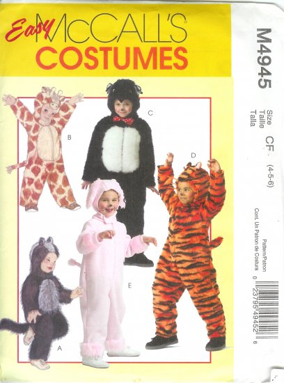M4945 McCalls Pattern EASY COSTUMES Toddlers/Child Size CF 4-5-6