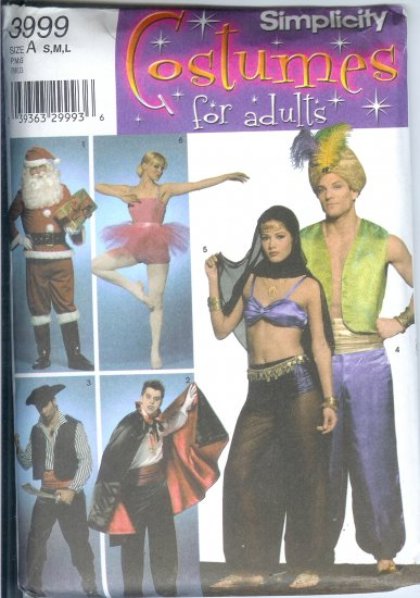 S3999 Simplicity Pattern COSTUMES for ADULTS Size A  S, M, L