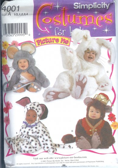 S4001 Simplicity Pattern PICTURE ME COSTUMES for KIDS Toddler Size A 1/2, 1, 2, 3, 4