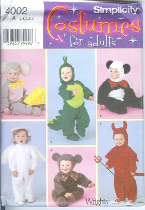 S4002 Simplicity Pattern COSTUMES for KIDS  Toddler Size A  1/2, 1, 2, 3, 4
