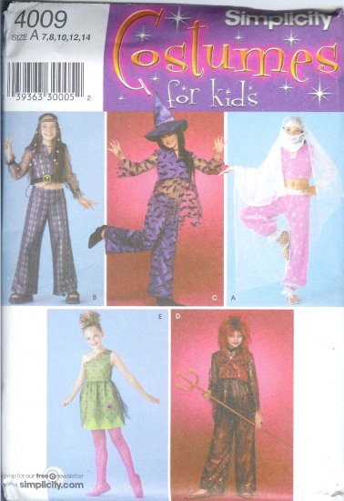 S4009 Simplicity Pattern COSTUMES FOR KIDS Girls Size A 7, 8, 9, 10, 12, 14