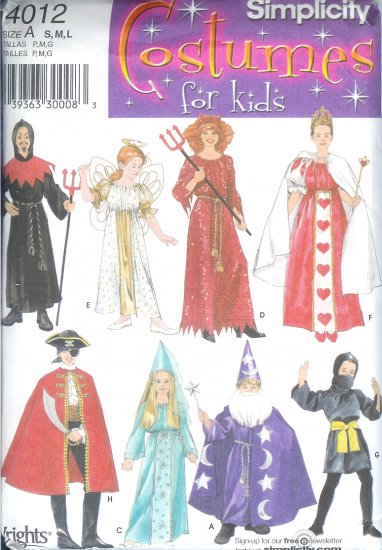 S4012 Simplicity Pattern COSTUMES for KIDS Child/Girl/Boy  Size A S, M ,L