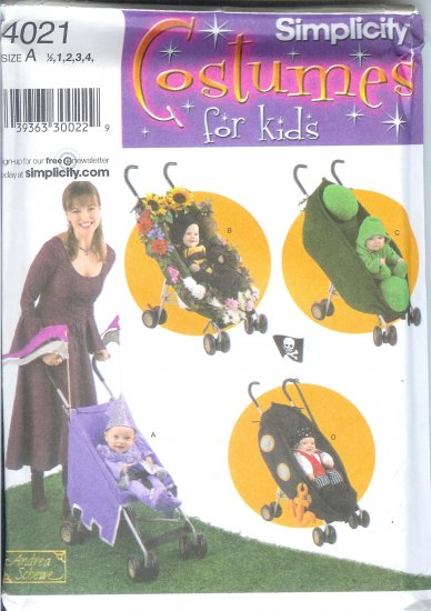 S4021 Simplicity Pattern COSTUMES and STROLLER DECOR. Toddler Size A 1/2, 1, 2, 3, 4