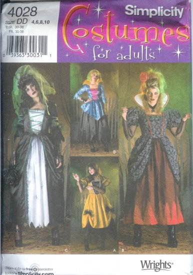 S4028 Simplicity Pattern COSTUMES for ADULTS Misses Size DD 4,6,8,10