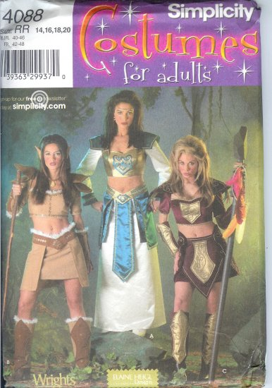 S4088 Simplicity Pattern COSTUMES for ADULTS Misses Size RR 14,16,18,20
