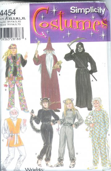 S4454 Simplicity Pattern Costumes Misses/Mens/Teens Size A  XS,S,M,L,XL