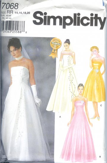 S7068 Simplicity Pattern EVENING DRESS with OVERDRESS Misses Size RR 14-20