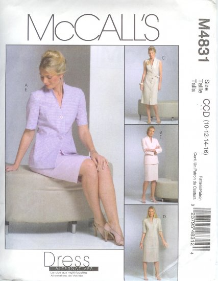 M4831 McCalls Pattern Unlined Jacket, Dress, Tie Belt and Skirt Misses/Miss Petite Size CCD 10-16