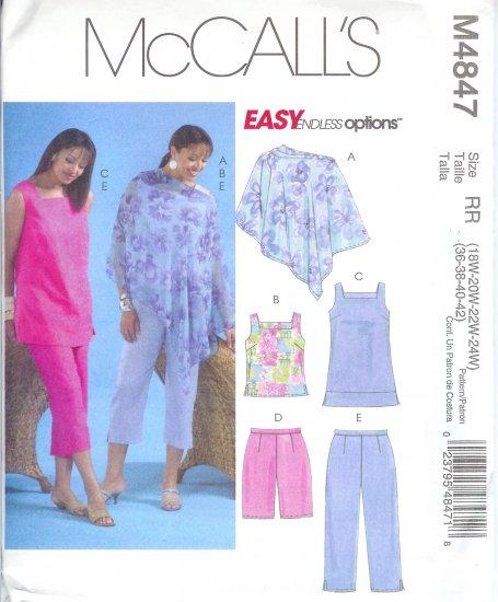 M4847 McCalls Pattern EASY OPTIONS Poncho,Top,Tunic,Shorts,Capri Pants Womens Size  18W-24W