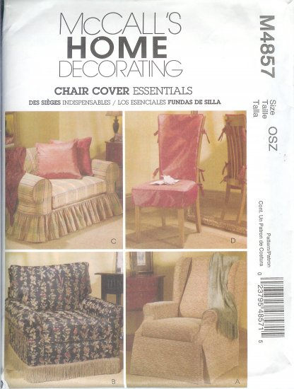 "*****SOLD  *****M4857 McCalls Pattern ""HOME DECORATING"" CHAIR COVER ESSENTIALS OSZ"