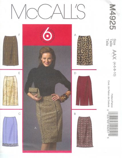 "M4925 McCalls Pattern  ""6 GREAT LOOKS"" Skirts Misses/Miss Petite  Size BB 8-10-12-14"