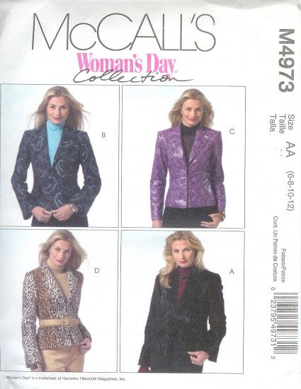 M4973 McCalls Pattern WOMANS DAY Lined Jackets Misses/Miss Petite Size AA 6-8-10-12
