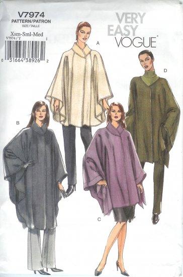 V7974 Vogue Pattern VERY EASY Cape Misses Size Z  L-XL
