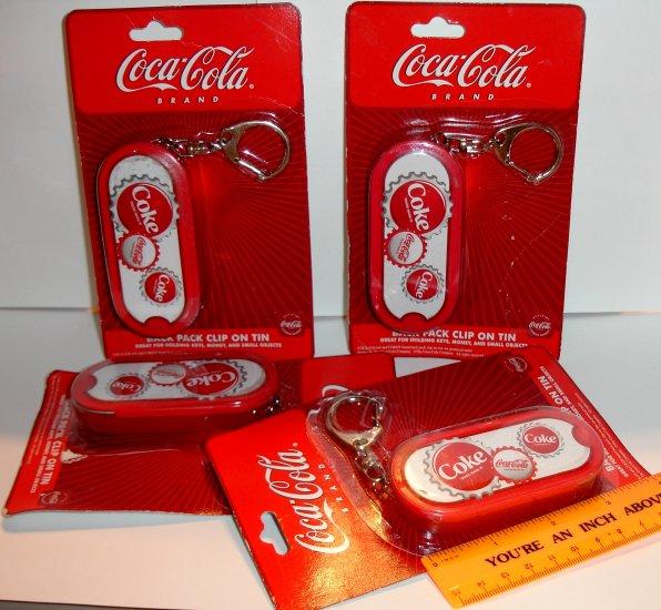 Coca Cola Tin Clip / Keychain (NIP) - Lot of 4