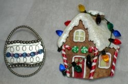 Hallmark signed Metal/Beaded Easter Pin and Detailed Gingerbread House Pin