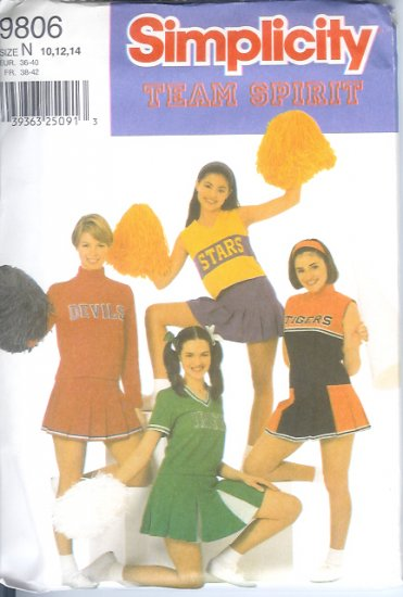 S9806 Simplicity Pattern DESIGN YOUR OWN CHEERLEADER OUTFIT Misses/Miss Petite Size N 10, 12, 14