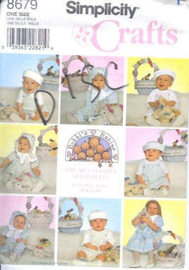 S8679 Simplicity Pattern CRAFTS (BOBBI'S BABIES) Basket, Bunnies, Babies Hats