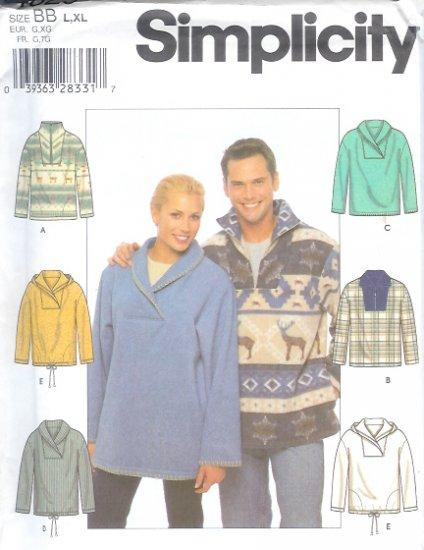 S4829 Simplicity Pattern Knit Top Misses/Mens/Teens Size BB L, XL