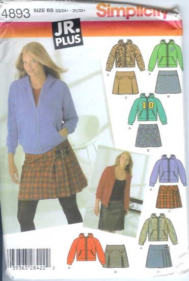 S4893 Simplicity Pattern Mini Skirts, Knit Hoodie Junior Plus Size BB 23/24+ - 31/32+