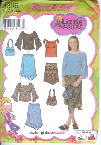 S4896 Simplicity Pattern LIZZIE McGUIRE Skirts, Top, Bag Girls/Girls Plus Size AA 8 -16