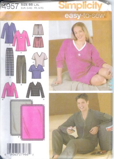S4957 Simplicity EASY TO SEW Pants or Shorts, Knit Nightshirt or Top and Blanket Size BB L, XL