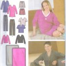 S4957 Simplicity EASY TO SEW Pants or Shorts, Knit Nightshirt or Top and Blanket Size AA XS, S, M