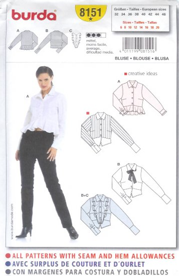 Burda 8151 Pattern Blouse Size 6, 8, 10, 12, 14, 16, 18, 20