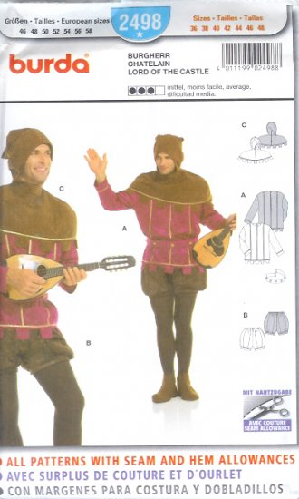 Burda 2498 Pattern LORD OF THE CASTLE Costume Size 36 - 48