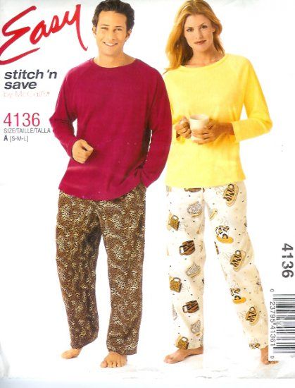 M4136 McCalls Pattern EASY Stitch N Save Top and Pull-On Pants Misses/Mens/Teen Boys Size S, M, L