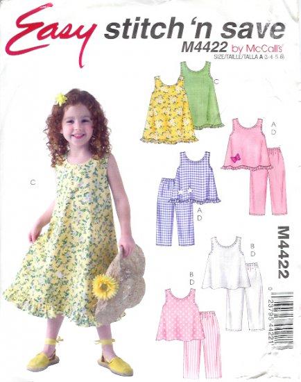 M4422 McCalls Pattern EASY Stitch N Save Tops, Dress, Pants Child/Girls Size A 3 - 4- 5- 6