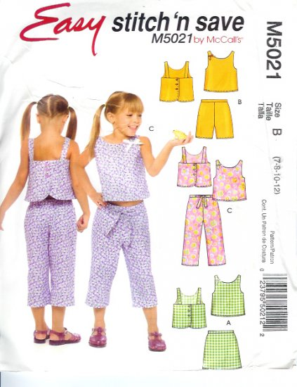 M5021 McCalls EASY Stitch N Save Tops, Skort, Shorts and Capri Pants Childs/Girls Size 7-12