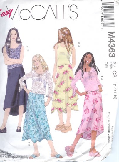 M4363 McCalls Pattern EASY Tops and Lined Skirts in 2 Lengths Girls Size CS 12-14-16